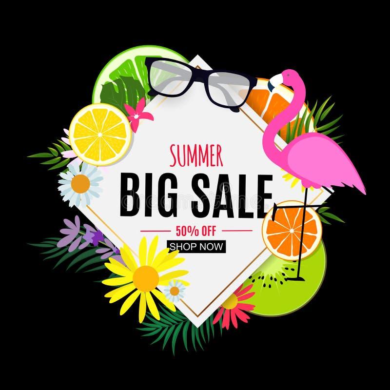 Abstrakter Sommerschlussverkauf-Hintergrund mit Palmbl?ttern, Wassermelone, Eiscreme und Flamingo Auch im corel abgehobenen Betra vektor abbildung