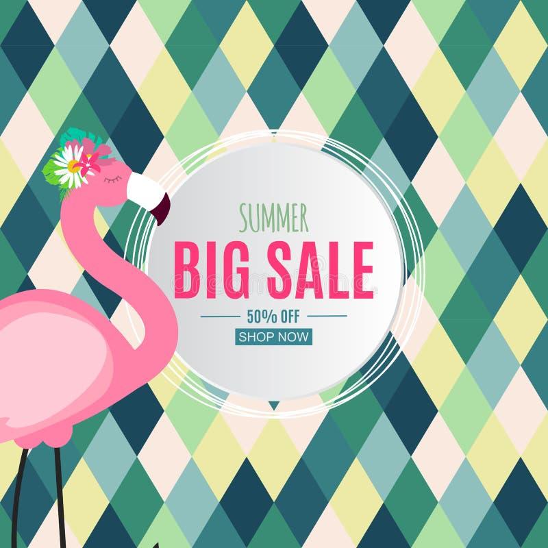 Abstrakter Sommerschlussverkauf-Hintergrund mit Palmbl?ttern, Wassermelone, Eiscreme und Flamingo Auch im corel abgehobenen Betra lizenzfreie abbildung