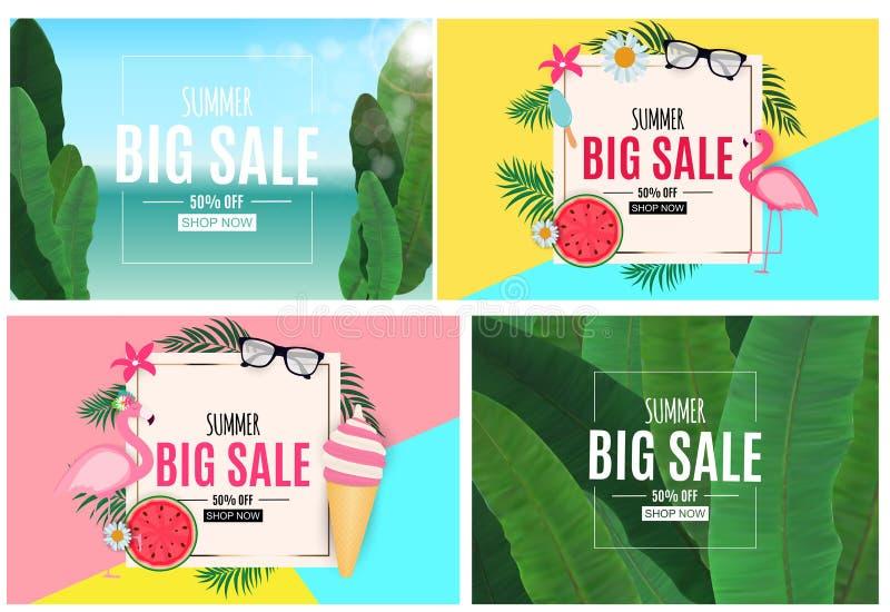 Abstrakter Sommerschlussverkauf-Hintergrund mit Palmblatt-, Flamingo und Eiscreme-Sammlungs-Satz Auch im corel abgehobenen Betrag stock abbildung