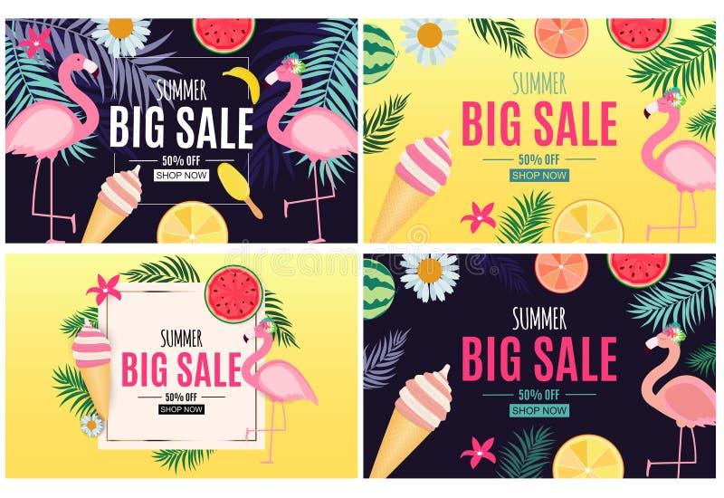 Abstrakter Sommerschlussverkauf-Hintergrund mit Palmblatt-, Flamingo und Eiscreme-Sammlungs-Satz Auch im corel abgehobenen Betrag vektor abbildung