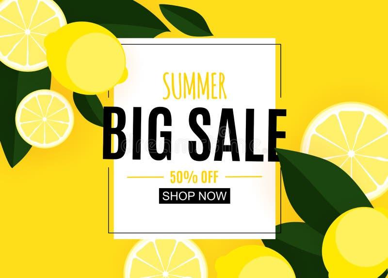 Abstrakter Sommerschlussverkauf-Hintergrund mit Zitrone Auch im corel abgehobenen Betrag lizenzfreie abbildung