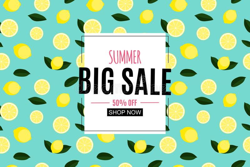 Abstrakter Sommerschlussverkauf-Hintergrund mit Zitrone Auch im corel abgehobenen Betrag stock abbildung