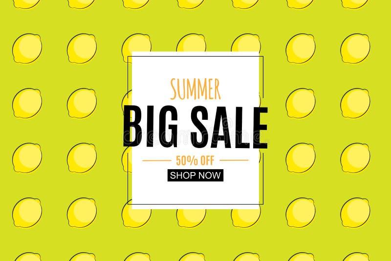 Abstrakter Sommerschlussverkauf-Hintergrund mit Zitrone Auch im corel abgehobenen Betrag vektor abbildung