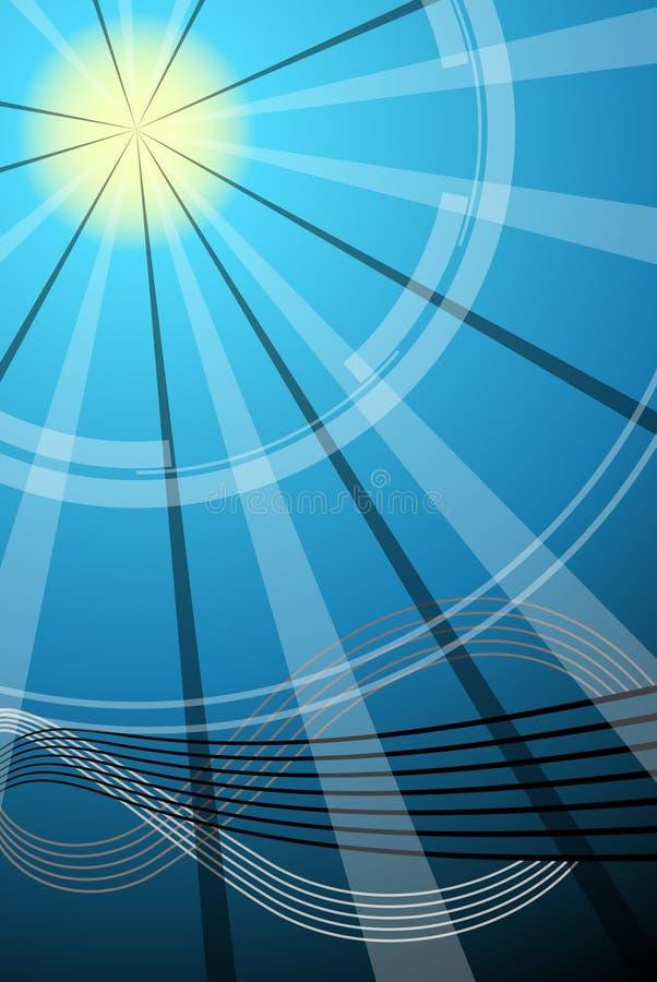 Abstrakter Sonne-, Himmel- und Wasserhintergrund stock abbildung