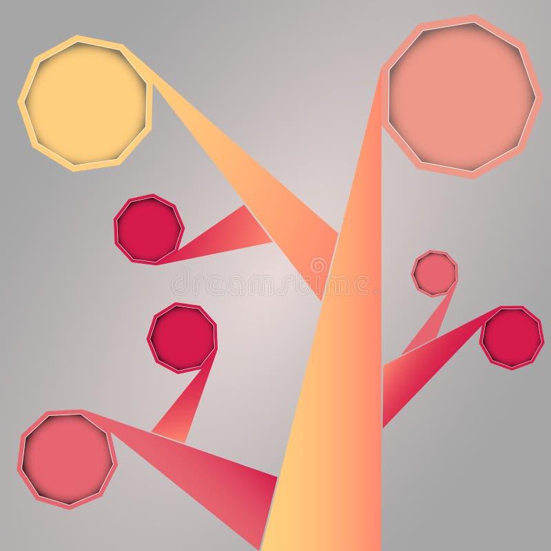 Abstrakter Sozialmedien-Baum mit gerundeten Rahmen lizenzfreie abbildung