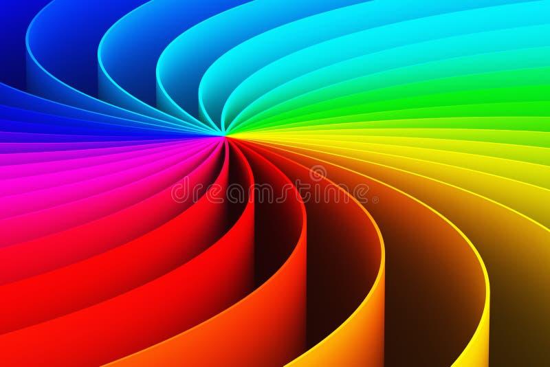 Abstrakter Spiralenhintergrund des Regenbogens 3D lizenzfreie abbildung