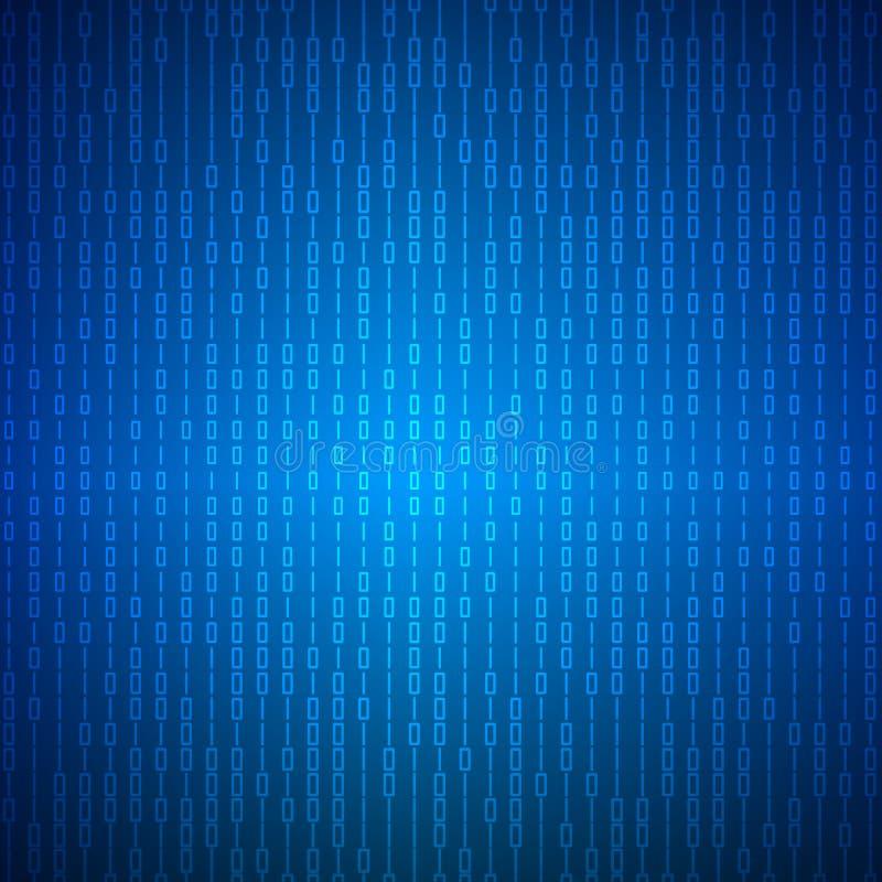 Abstrakter Strom des binären Matrixcodes auf blauem Schirm Binärer Computercode Programmierungskodierungs-Konzept der Kodierung,  stock abbildung