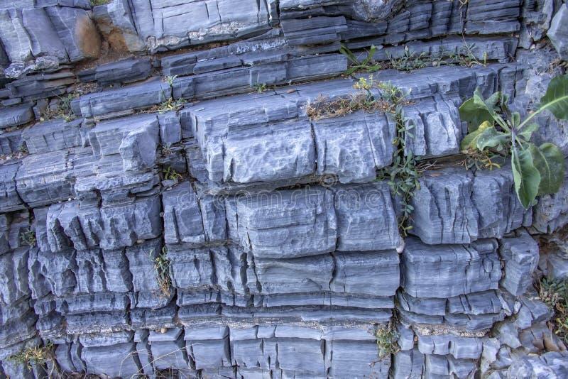 Abstrakter struktureller Hintergrund von den grauen Steinen schroff durch das Wasser der Gezeiten lizenzfreie stockbilder