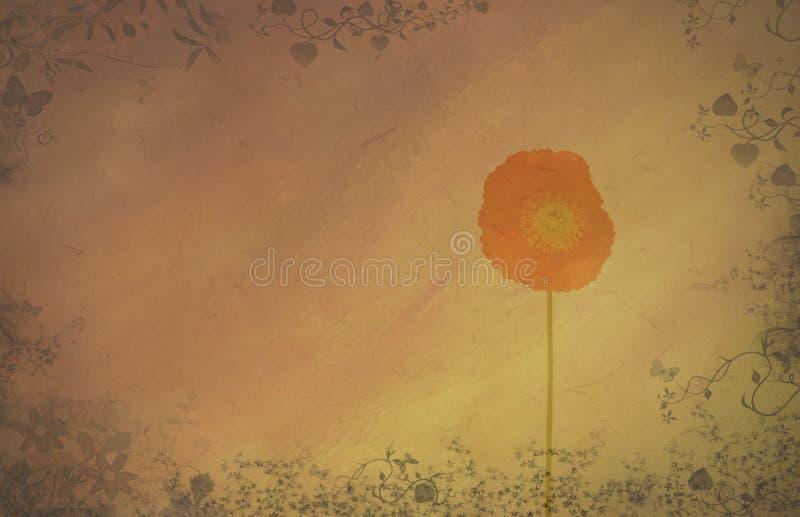 Abstrakter strukturierter Hintergrund mit Mohnblume stockbild