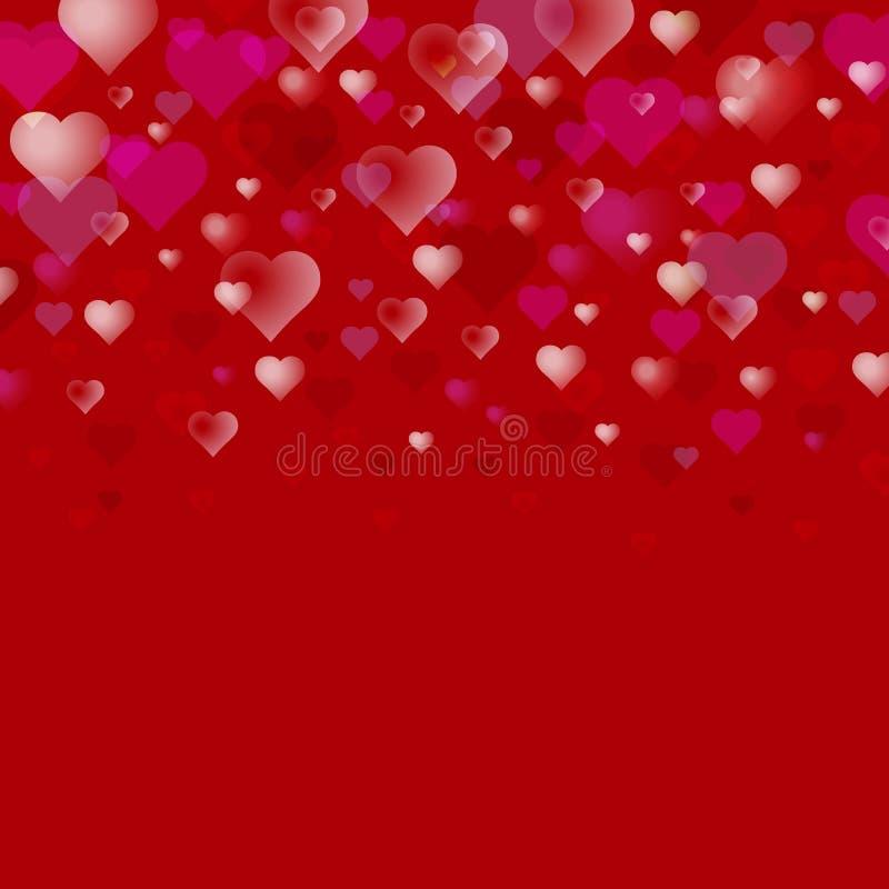 Abstrakter Tagesvektorhintergrund des Valentinsgruß-s Transparente Herzen auf einem dunkelroten Verwendbar für Designgrußkarte, F stock abbildung