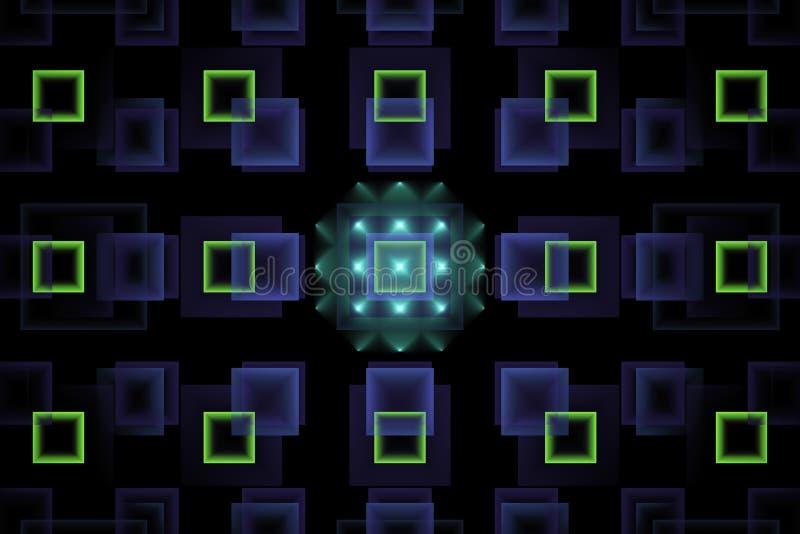 Abstrakter Technologie Fractal mit glühenden grünen Neonquadraten lizenzfreie stockfotografie