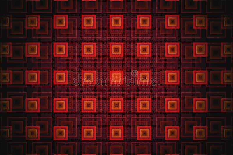 Abstrakter Technologie Fractal mit glühenden orange Quadraten stockfotografie