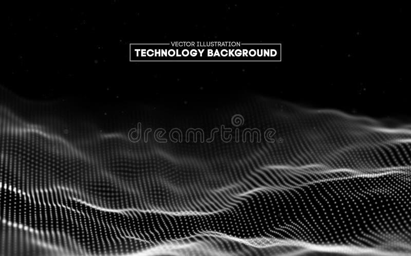 Abstrakter Technologie-Hintergrund Gitter des Hintergrundes 3d Cybertechnologie Ai-Technologiedraht-Netz futuristisches wireframe vektor abbildung