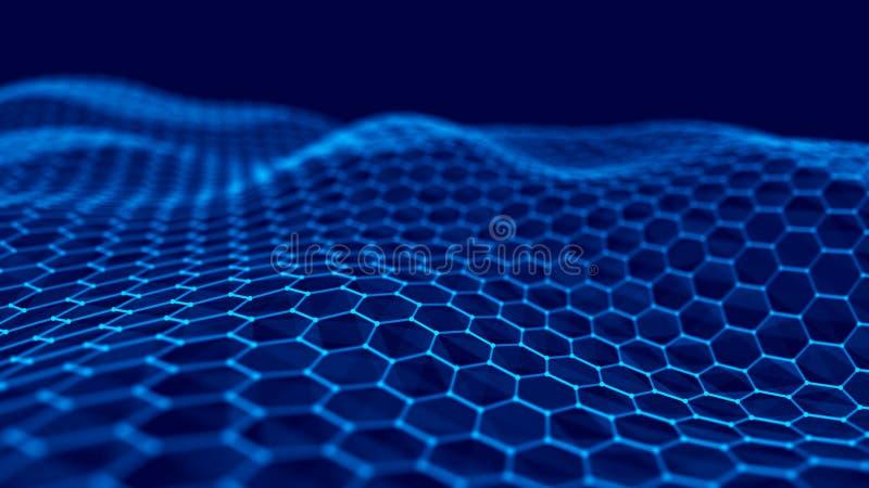 Abstrakter Technologie-Hintergrund Gro?e Datensichtbarmachung Futuristischer Hexagonhintergrund Wiedergabe 3d vektor abbildung