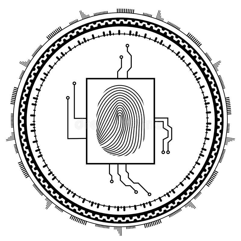 Abstrakter Technologie-Hintergrund Sicherheitssystemkonzept mit Fingerabdruck Vektorabbildung ENV-10 vektor abbildung