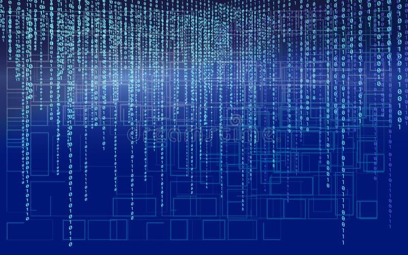 Abstrakter Technologie-Hintergrund Web-Entwickler Überlagerter tiefer blauer Bildschirm programmierung kodierung Hackerkonzept vektor abbildung