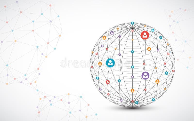 Abstrakter Technologiebereichhintergrund Konzept des globalen Netzwerks lizenzfreie abbildung