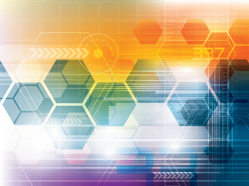 Abstrakter Technologiehintergrund mit Hexagonen stock abbildung