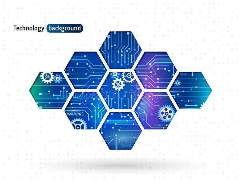 Abstrakter Technologiehintergrund mit Hexagonen und Gangrädern vektor abbildung