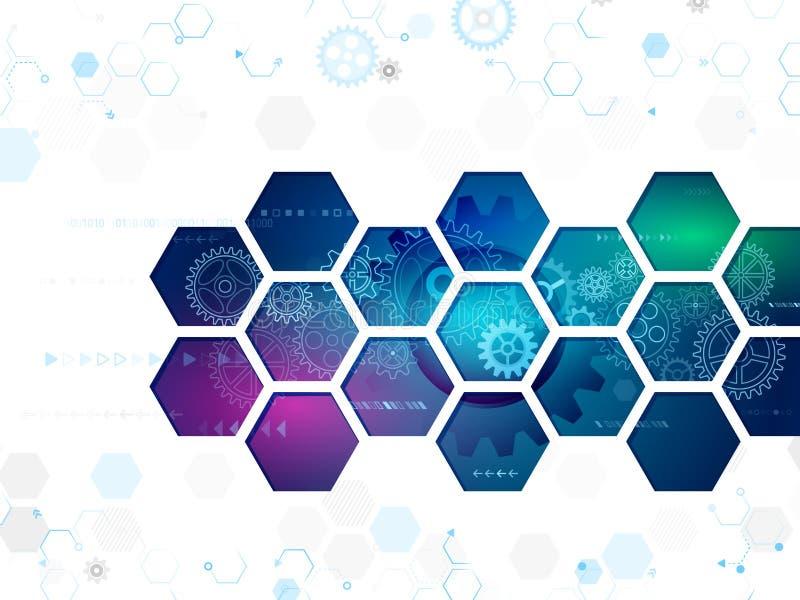 Abstrakter Technologiehintergrund mit Hexagonen und Gangrädern lizenzfreie abbildung