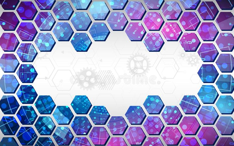 Abstrakter Technologiehintergrund mit Hexagonen und Gangr?dern, High-Teche Elemente vektor abbildung