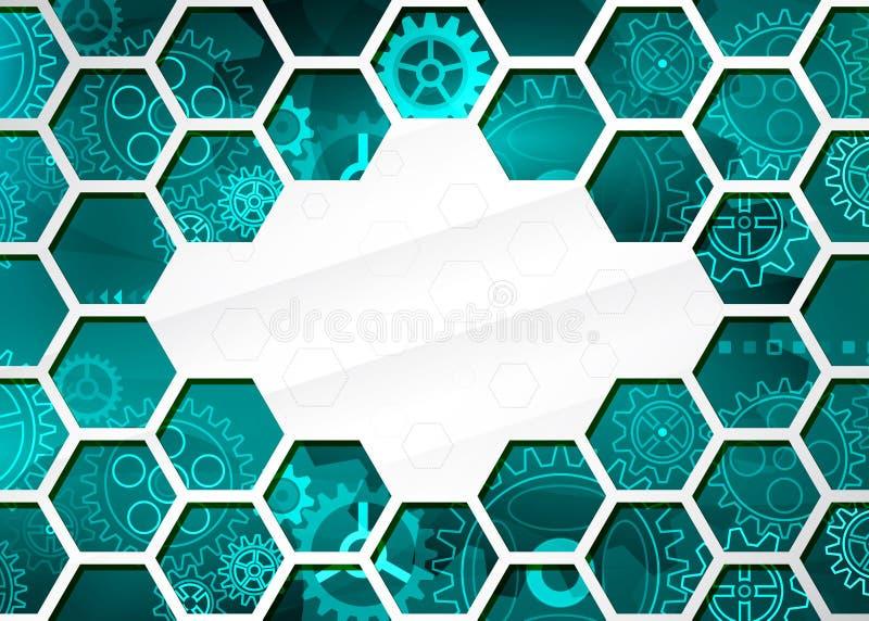 Abstrakter Technologiehintergrund mit Hexagonen und Gangr?dern, High-Teche Elemente stock abbildung