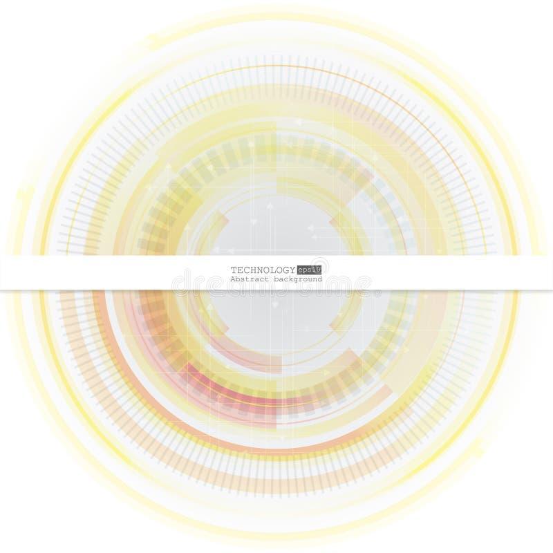 Abstrakter Technologiehintergrund mit verschiedenen technologischen Elementen Auch im corel abgehobenen Betrag stock abbildung
