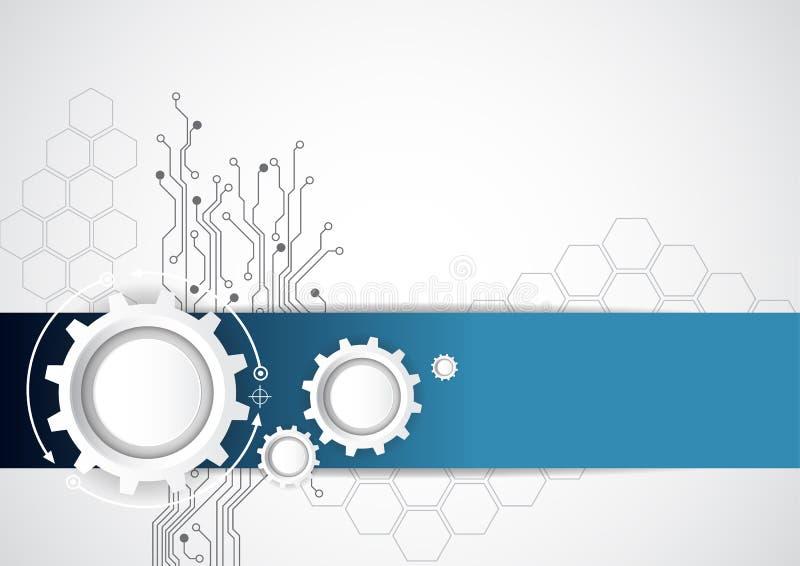 Abstrakter Technologiehintergrund mit verschiedenen technologischen Elementen, Vektorillustration lizenzfreie abbildung