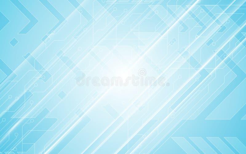 Abstrakter Technologiekommunikationsinnovationskonzeptstromkreismusterpfeilgeschwindigkeitsbewegungsdesign-Blauhintergrund lizenzfreie abbildung