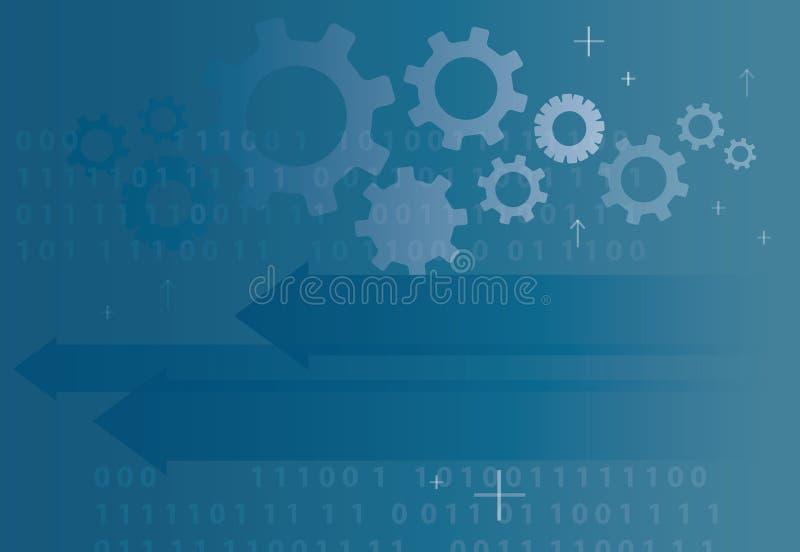Abstrakter Technologiepfeilikonen- und Computercodeprogrammierungskodierungshacker-Konzepthintergrund lizenzfreie abbildung