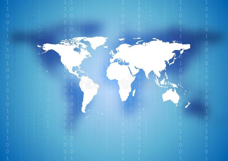 Abstrakter Technologieweltkartehintergrund stock abbildung