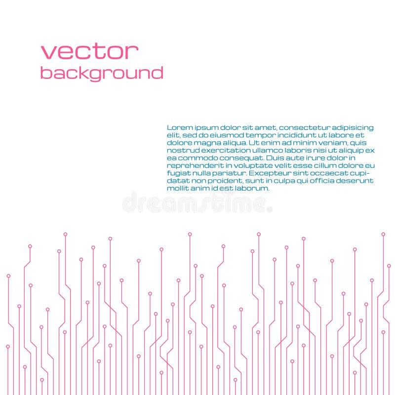 Abstrakter technologischer weißer Hintergrund mit Elementen des Mikrochips stock abbildung
