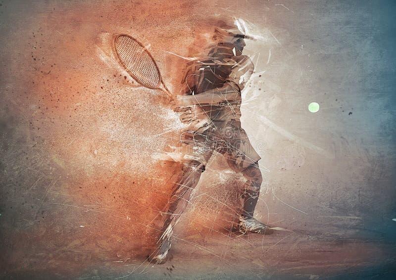 Abstrakter Tennisspieler lizenzfreie abbildung