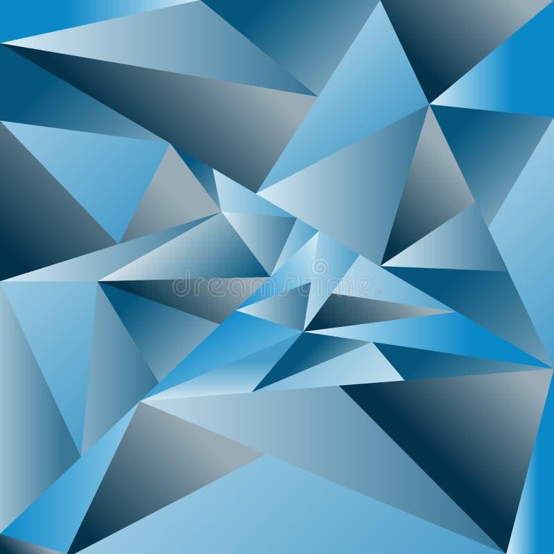 Abstrakter triangulierter Hintergrund des Vektors Blaues trianguliertes backg stock abbildung