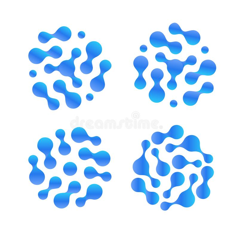 Abstrakter Tropfenvektor-Ikonensatz h2o flüssiger Gereinigtes Logo des destillierten Wassers Luftfeuchtigkeitsillustration lizenzfreie abbildung