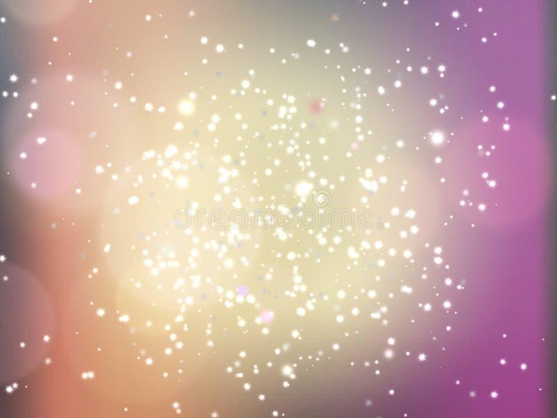 Abstrakter Unschärfe Cosmo-Hintergrund mit den Sternen, horizontal stock abbildung