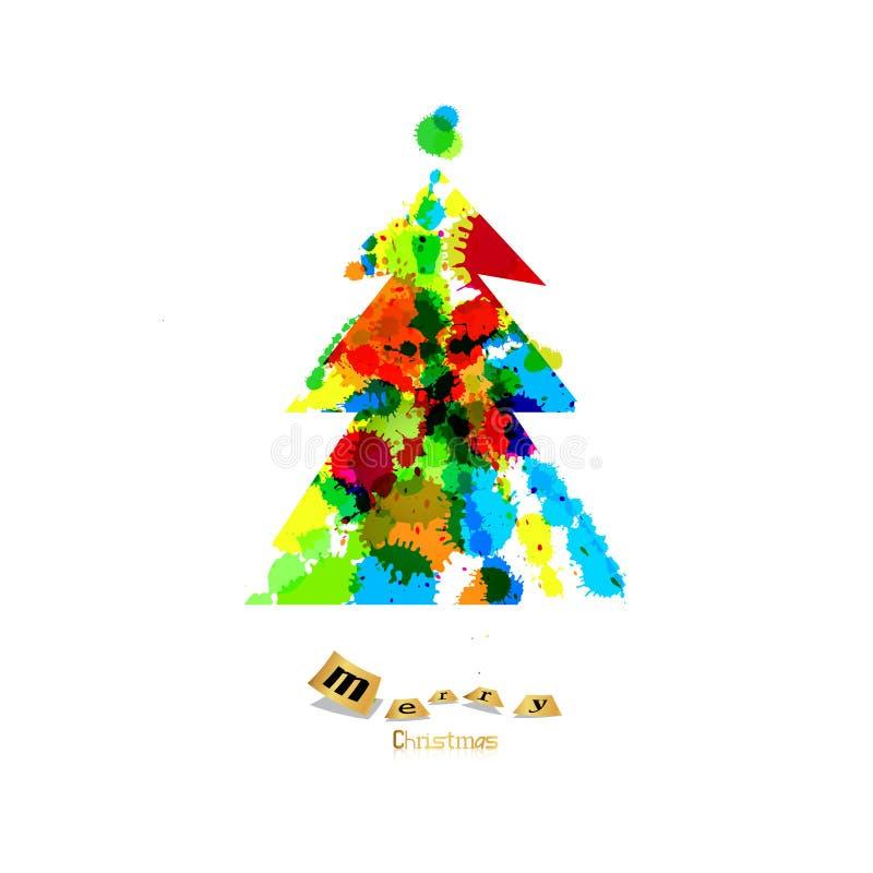 Abstrakter Vektor-bunter Weihnachtsbaum lizenzfreie abbildung