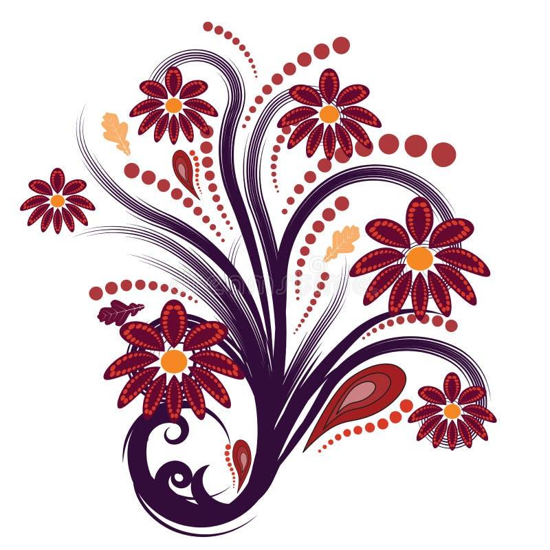 Abstrakter Vektor des Herbstes mit Blumen vektor abbildung