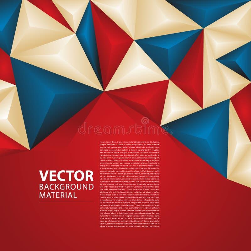 Abstrakter Vektor-Hintergrund-Russland-Flaggen-Konzept-Design-Weltcup 2018 Rot, blau, Creme-Dreieck-geometrisches Farbthema lizenzfreie stockbilder