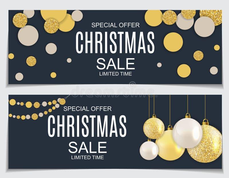Abstrakter Vektor-Illustrations-Weihnachtsverkauf, Sonderangebot-Hintergrund mit Geschenkbox und goldener Ball Winter-heißer Raba lizenzfreie abbildung
