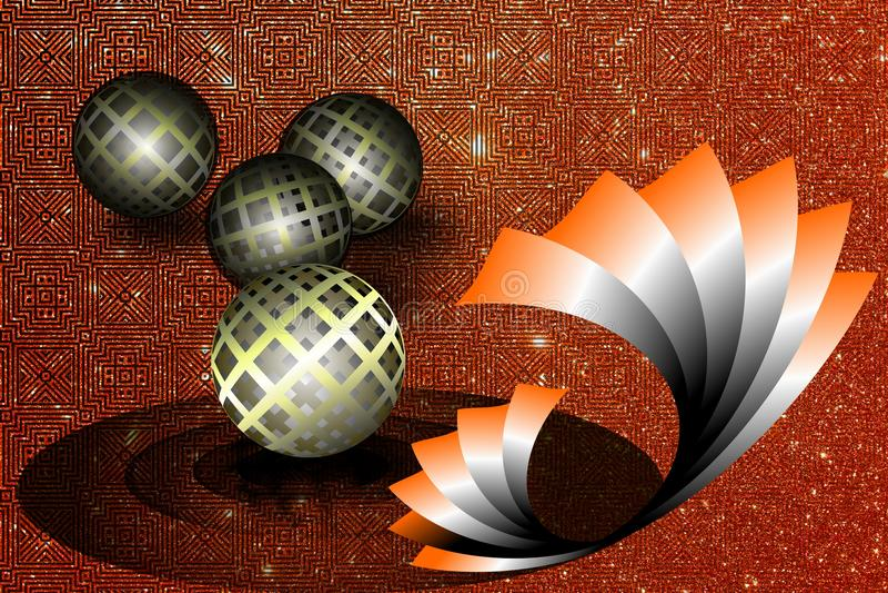 Abstrakter Vektor kombiniert von 3 d-Ball mit gewelltem strukturiertem Hintergrund des Funkelns, Vektorillustration lizenzfreie abbildung