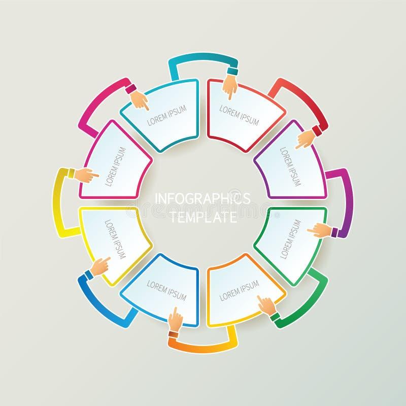 Abstrakter Vektor 8 tritt infographic Schablone in der Art 3D für Planarbeitsflussentwurf, nummeriert Wahlen, Diagramm oder Diagr lizenzfreie abbildung