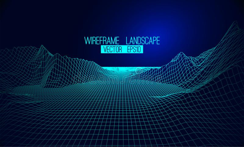 Abstrakter Vektor wireframe Landschaftshintergrund Cyberspacegitter 3d stock abbildung
