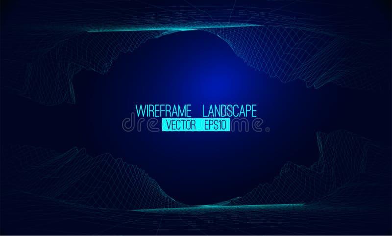 Abstrakter Vektor wireframe Landschaftshintergrund Cyberspacegitter 3d vektor abbildung