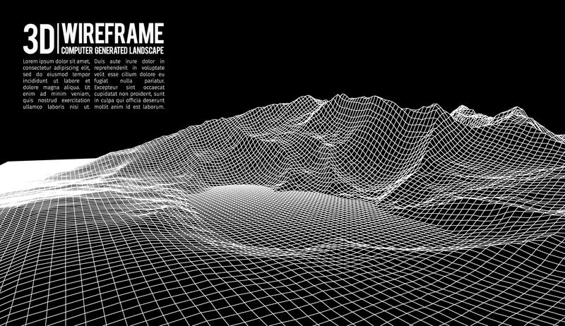 Abstrakter Vektor wireframe Landschaftshintergrund Cyberspacegitter Technologie 3d wireframe Vektorillustration Digital lizenzfreie abbildung