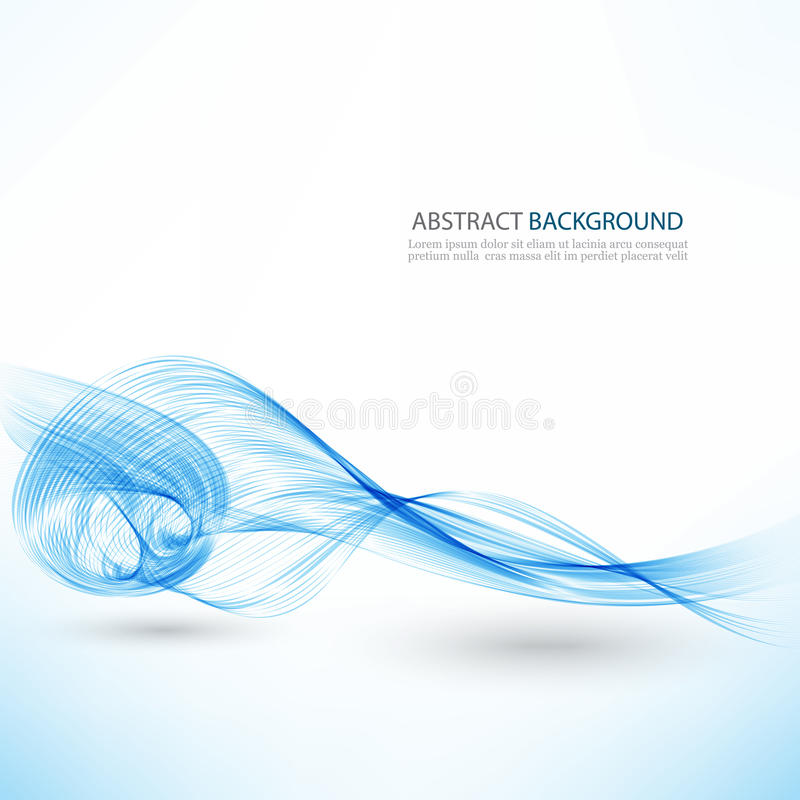 Abstrakter Vektorhintergrund, blaue transparente wellenartig bewegte Linien für Broschüre, Website, Fliegerdesign Blaue Rauchwell stock abbildung
