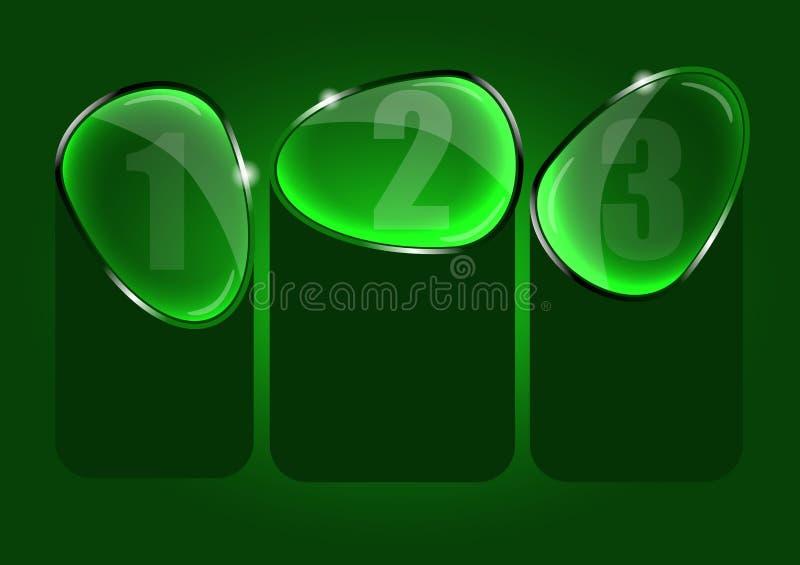 Abstrakter Vektorhintergrund mit drei Glaswahlen vektor abbildung