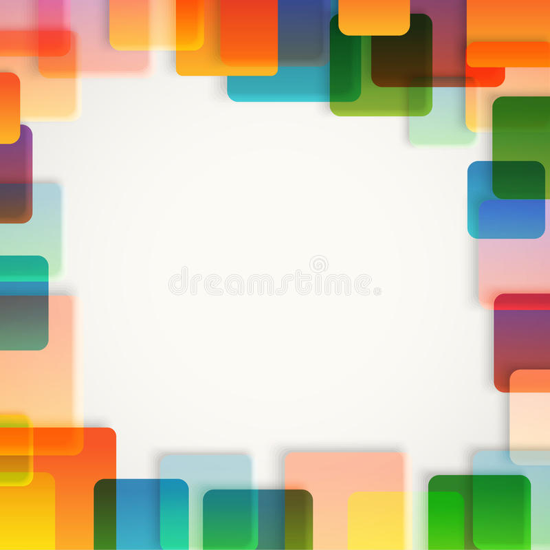 Abstrakter Vektorhintergrund von verschiedenen Farbquadraten vektor abbildung