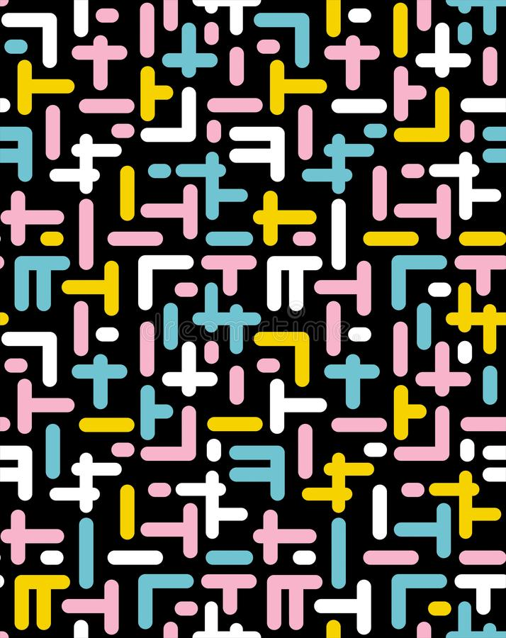 Abstrakter vektornahtloses Muster Durcheinander-Elemente Schwarzer Hintergrund Bunter Entwurf Retro- Memphis-Art vektor abbildung