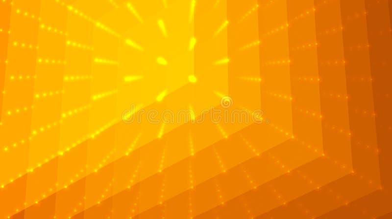 Abstrakter Vektororangenhintergrund Matrix von Punkten und von Polygonen mit Illusion der Tiefe und der Perspektive stock abbildung